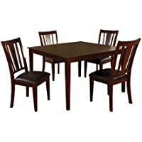 Furniture of America Cornelius 5-Piece Dining Table Set, Espresso Finish