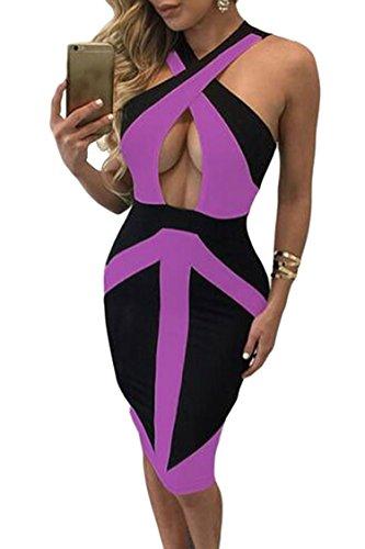 [LOV ANNY Women's Halter Neck Colorblock Sleeveless Party Midi Dress] (Sexy Purple Dress)