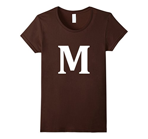 Womens Letter M shirt Halloween Costume tshirt Big M Alphabet candy Medium Brown