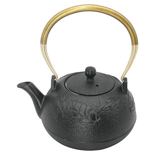 InnoLife Cast Retro Classic Iron Teapot Kettle Copper handle With Stainless Steel Infuser 1.2L/40oz(Maple leaf)