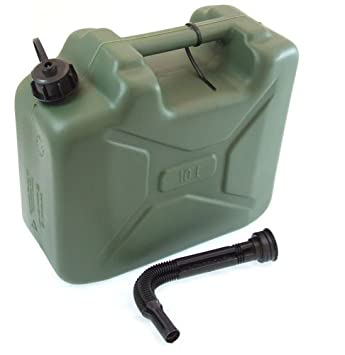 Army Can 10 Litre Plastic Jerry Can 10l Petrol Diesel Can
