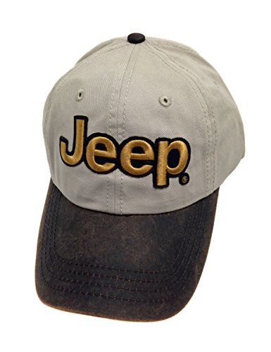 Jeep Gold Logo Bronze Leather Visor Cap