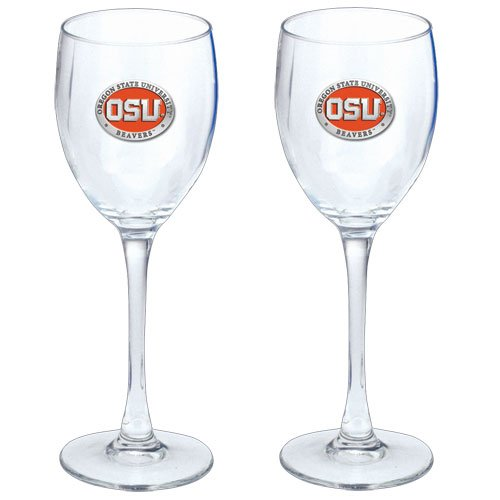 State University Wine Glass (OREGON STATE UNIVERSITY BEAVERS 2PC WINE GLASS GOBLETS, 12OZ, WITH PEWTER LOGO)