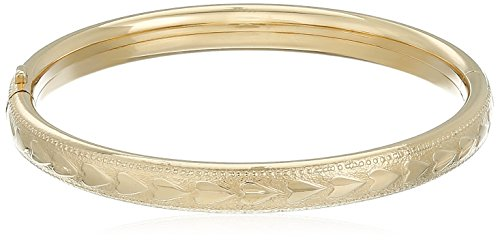 14k Yellow Gold-Filled Children's Heart Pattern Guard and Hinge Bangle Bracelet