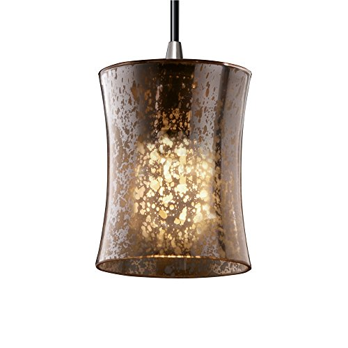 Justice Design Group FSN-8815 - Pendants 1 Light Mini Pendant - Hourglass Shade - Brushed Nickel with Mercury - Design Justice Hourglass