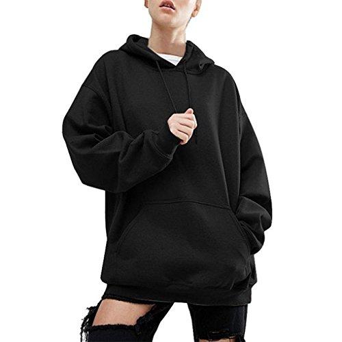Landove Donna Felpa con Cappuccio e Tasca Pullover Tumblr Autunno Inverno Elegante Felpe Hip Hop Sweatshirt Oversize Casual Maglietta Tops Tinta Unita Nero