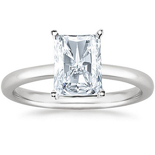 GIA Certified 18K White Gold Radiant Cut Solitaire Diamond Engagement Ring (1 Carat F Color VS2 (Radiant Solitaire Ring)