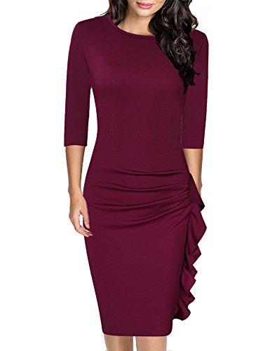 HiQueen Women Work Retro Cap Sleeve Summer Slim Business Bodycon Pencil Cocktail Dress (Wine Red, M) ()