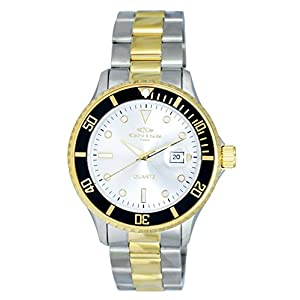 Oniss ON8600 Mens Sunray Stainless Steel Watch with Rotating Bezel-Silver & gold tone/Silver