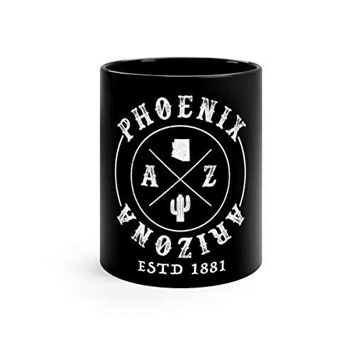 Phoenix Arizona AZ Cactus City Map Funny Mugs Cups Ceramic 11oz Black