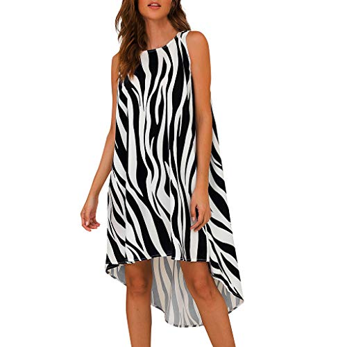 Sunhusing Women's Sleeveless Round Neck Sleeveless Irregular Hem Zebra Print Wavy Stripe Print Shirt Dress Black]()