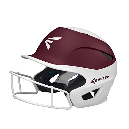 EASTON PROWESS Fastpitch Softball Batting Helmet with Mask | M / L | Matte White Maroon | 2019 | Multi-Density Impact Absorption Foam | High Impact Resistant Lightweight Shell | BioDRI Liner