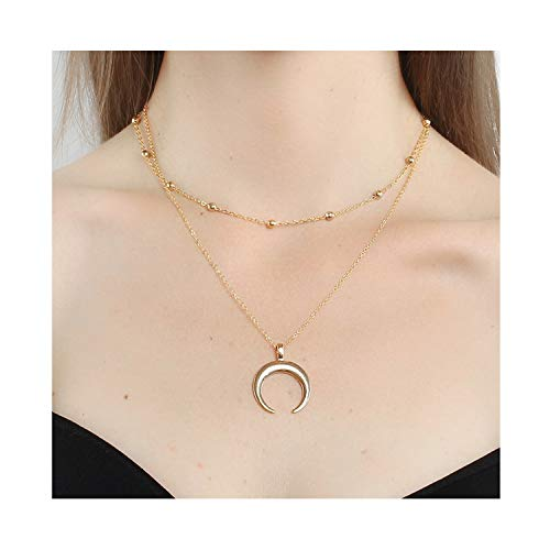 - J Meng Two Layer Necklaces for Women Bohemia Open Circle Heart Moon Horn Pendant Charm Beads Choker Chain Necklaces (Gold)