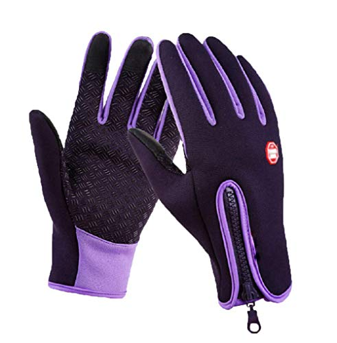 (Outdoor Winter Touchscreen Waterproof Warm Full Finger Bike Gloves Winter Cycling Gloves Road Moutain Bike Bicycle Gloves (Purple, m))