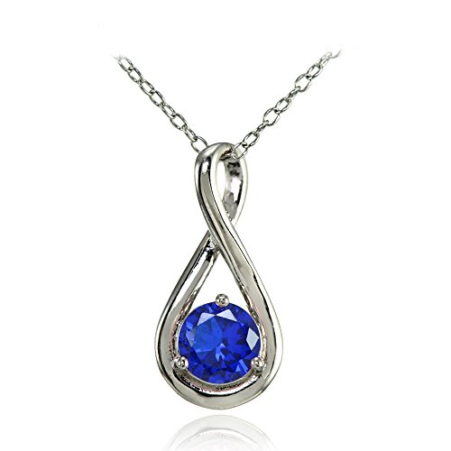 Sterling Silver Simulated Blue Sapphire Polished 5mm Round Infinity Necklace