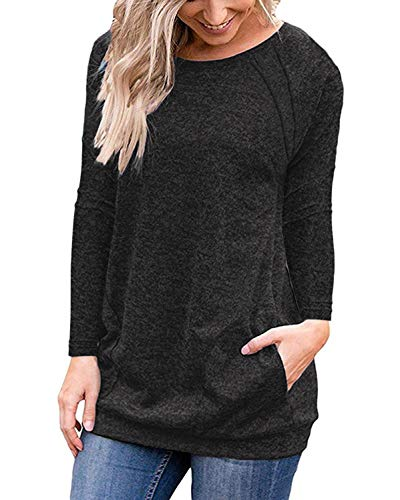 Casual Pullover Shirts for Women with Sleeves Slim Fit Pockets Blouse Tops Black XL by Halife