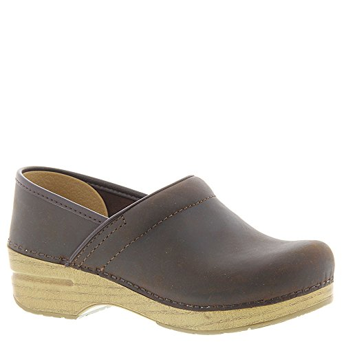 Dansko Womens Professional Antique Brown/Blonde Oiled Leather Clog - 38 ()