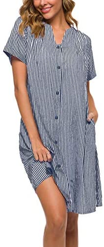 YOZLY House Dress Women Cotton Duster Robe Short Sleeve Housecoat Button Down Nightgown 1