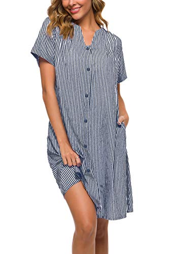 YOZLY House Coat Womens Cotton Stripe Nightgown Short Sleeves Snap-Front Duster Dress (Navy Blue, L)