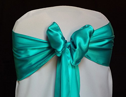 MDS Pack of 100 satin chair sashes bow sash for wedding and Events Supplies Party Decoration chair cover sash -Sea green