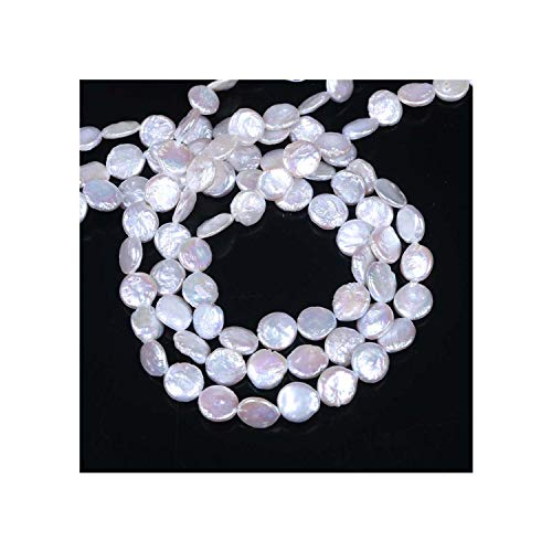 (Coin Pearl Cultured Freshwater Pearl Beads,Inspirational, Natural, White, 10-11mm, Hole: Approx 0.8mm, Sold Per 16 Inch Strand)