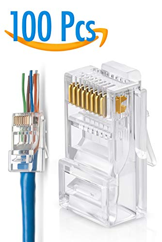 RJ45 Cat5 Cat5e Pass Through Connectors Pack of 100 | EZ Crimp Connector UTP Network Unshielded Plug for Twisted Pair Solid Wire & Standard Cables | Transparent Passthrough Ethernet Insert