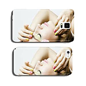 Beauty young woman with flowers and make up close up cell phone cover case Samsung S5