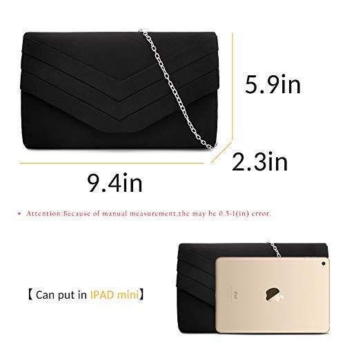 Milisente Clutch Purses for Women Velvet Envelope Evening Bags Classic Shoulder Clutch Purse (Black) by Milisente (Image #2)