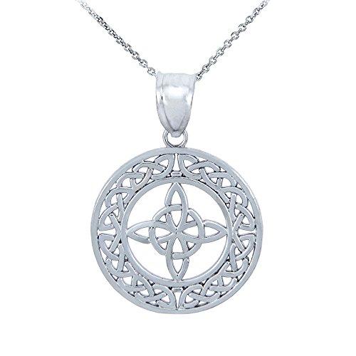 10k White Gold Round Celtic Trinity Knot Pendant Necklace, 20