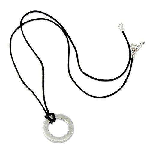 NOVICA Geometric Brushed Finish .925 Sterling Silver Men's Pendant Necklace, 21.75