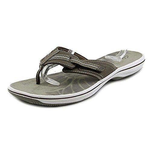 CLARKS Women's Brinkley Jazz Hanging Flip Flop Sandal, Pewter, Size 10.0