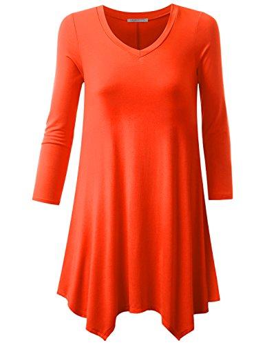 URBANCLEO Womens 3/4 Sleeve V-Neck Tunic Top Long T-Shirt Orange Large (Sleeve V-neck Tunic Top)