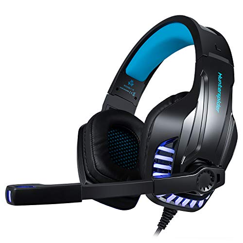 Gaming Headset for PS4 Xbox One PC with Noise Isolation Gaming Headphones Mic Crystal Stereo Surround Sound LED Lights