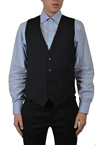 (Dolce & Gabbana Wool Men's Black Vest US 38 IT)