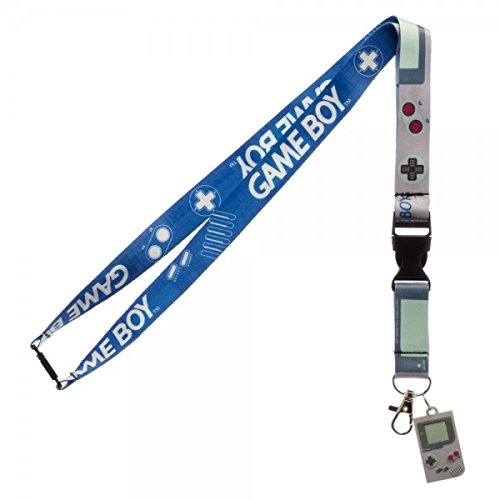 Nintendo Game Boy Reversible Breakaway Keychain Lanyard with ID Holder, Rubber Charm and Collectible Sticker (Picture Lanyard)