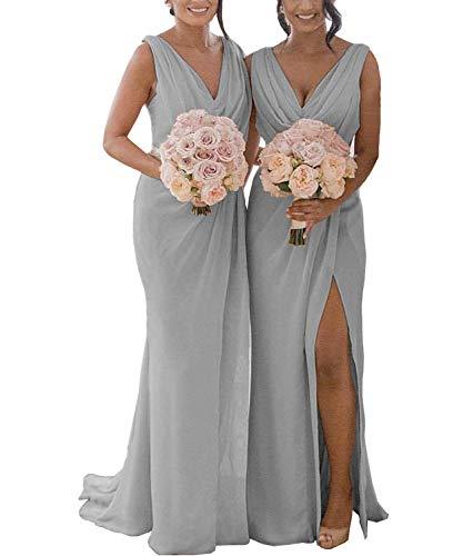 Yilis Women's Double V Neck Ruffled Slit Chiffon Bridesmaid Dress Long Formal Prom Party Gown with Sash Grey US16 from Yilis