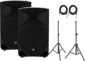 "Pair of Mackie Thump15 1000W 15"" Powered Loudspeakers with Speaker Stands and (2) 20' XLR Cables"
