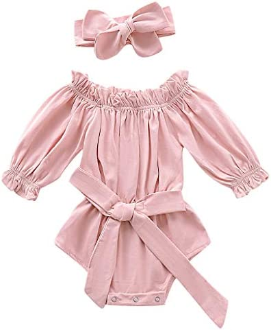 Solid Pants Outfits YESOT Baby Girls Solid Bodysuits Summer Infant Sleeveless Frill Solid Tops
