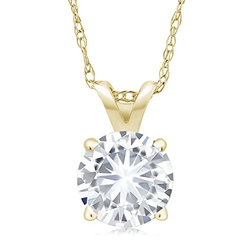 Charles & Colvard Forever Classic 6mm 0.80ct DEW Created Moissanite 14k Yellow Gold Solitaire Pendant Round 4 Prong With COMPLIMENTARY 18inches 14K Yellow Gold Chain ()