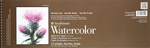 Strathmore 440-18 400 Series Watercolor Pad, Cold Press, 6''x18'' Wire Bound, 12 Sheets by Strathmore