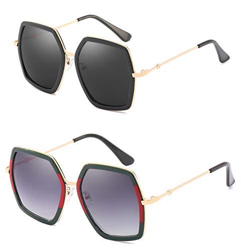 YESPER Oversized Square Sunglasses for Women Hexagon Inspired Designer Style Shades (2 Pack Red Green + Black Frame)