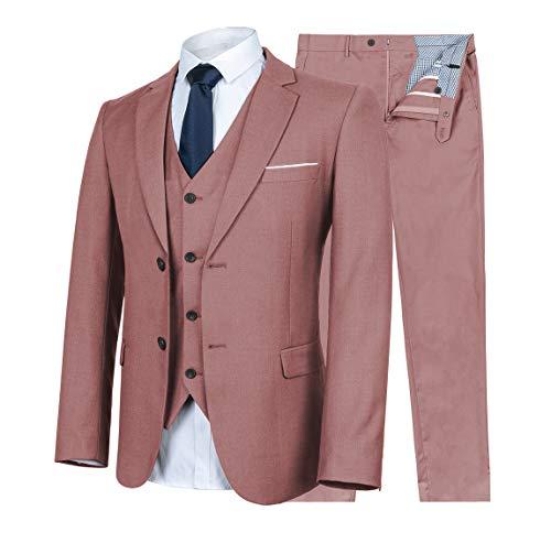 WULFUL Men's Suit Slim Fit 3 Piece Suit Blazer Two Button Tuxedo Business Wedding Party Jackets Vest&Trousers Pink (Tab Button Trousers)