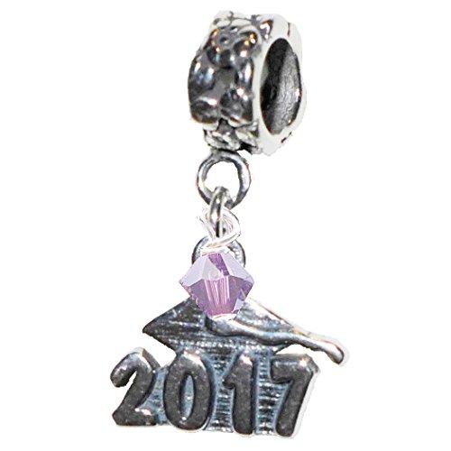 Graduation Cap 2017 February Amethyst Birthstone Sterling Silver Dangle Charm