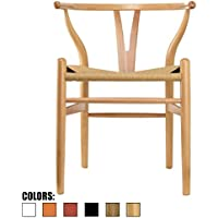 2xhome - Natural - Wishbone Wood Arm Chair Armchair Modern Natural with Natural Woven Seat Dining Room Chair