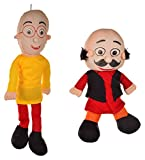 Leo Toys Soft Stuffed Spongy Motu Patlu Play Toy for Unisex Kids/Toddler Baby's Funny Cartoon Fur Dolls, Large Size, Combo Set of 2 – Yellow & Red