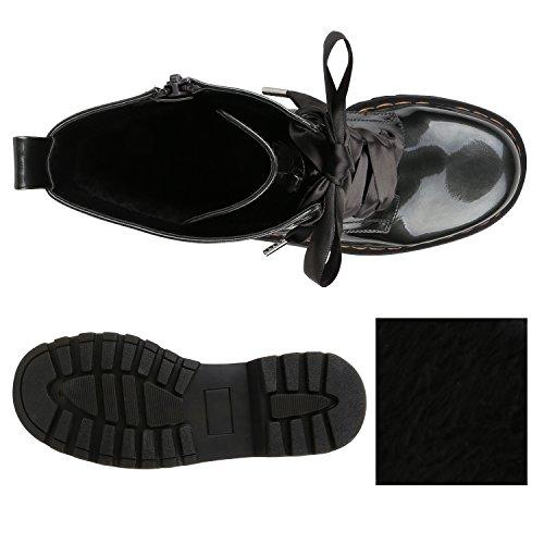 Stiefelparadies Damen Stiefeletten Worker Boots Profilsohle Flandell Grau Brito