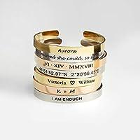 Cuff Bracelet Personalized Bangle Inspirational Friendship Bracelet Gift for Her Bridesmaid Proposal Coordinate Bracelet - FBR