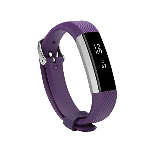 Newest Fitbit Alta HR and Alta Band With Metal Clasp, BeneStellar Silicone Replacement Band for Fitbit Alta HR and Alta (Classic) (Purple 1-Pack) (1 Hr Travel Charger)