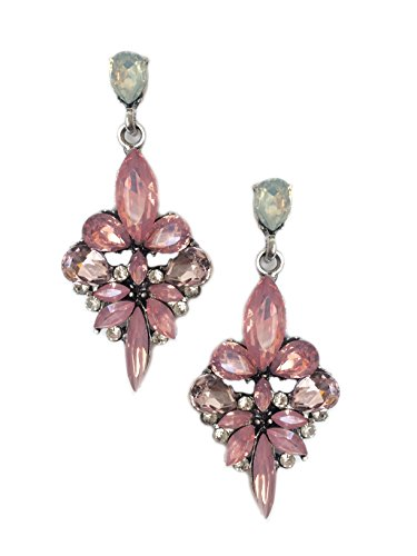 Silver Tone Antique Vintage Style Pink Rhinestone Dangle Earrings