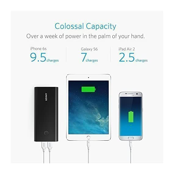 Anker PowerCore+ 26800, Premium Portable Charger, High Capacity 26800mAh External Battery with Qualcomm Quick Charge 3.0… 7 The Anker Advantage: Join the 50 million+ powered by America's leading USB charging brand. Qualcomm Quick Charge 3.0: Using Qualcomm's advanced Quick Charge 3.0 technology, PowerCore+ allows compatible devices to charge 85% faster. Recharges itself 2X as fast with the included wall charger. Fast-Charging Technology: Exclusive to Anker, PowerIQ and VoltageBoost technologies combine to provide universal full speed charging for non-Quick Charge devices, up to 3 amps per port.